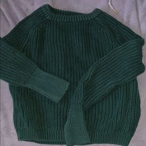 CROPPED AMERICAN APPAREL DARK GREEN KNIT SWEATER